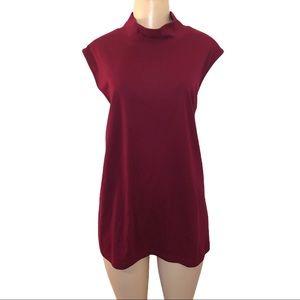 5/$25 Karen Scott 3X Burgundy Collared Sleeveless Shirt